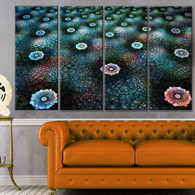 Designart Blue Flowers On Alien Planet Floral Canvas Art Print - 4 Panels