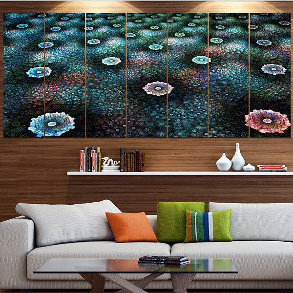 Designart Blue Flowers On Alien Planet Large Floral Canvas Art Print - 5 Panels