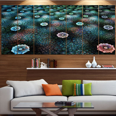 Designart Blue Flowers On Alien Planet Floral Canvas Art Print - 6 Panels