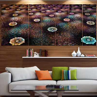 Designart Brown Flowers On Alien Planet Large Floral Canvas Art Print - 5 Panels