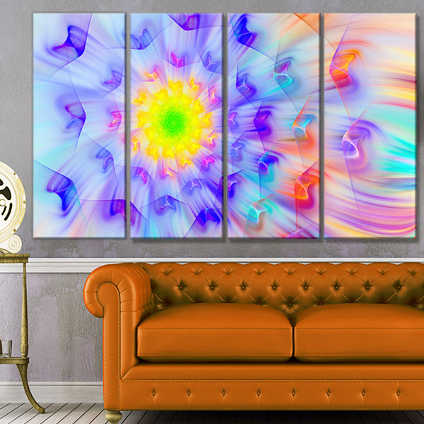 Designart Large Yellow Alien Fractal Flower FloralCanvas Art Print - 4 Panels