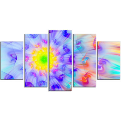 Designart Large Yellow Alien Fractal Flower LargeFloral Canvas Art Print - 5 Panels