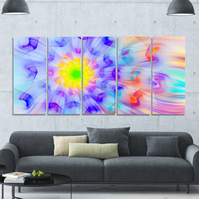 Designart Large Yellow Alien Fractal Flower FloralCanvas Art Print - 5 Panels