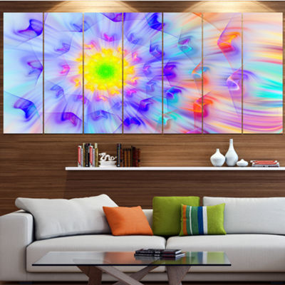 Designart Large Yellow Alien Fractal Flower FloralCanvas Art Print - 6 Panels