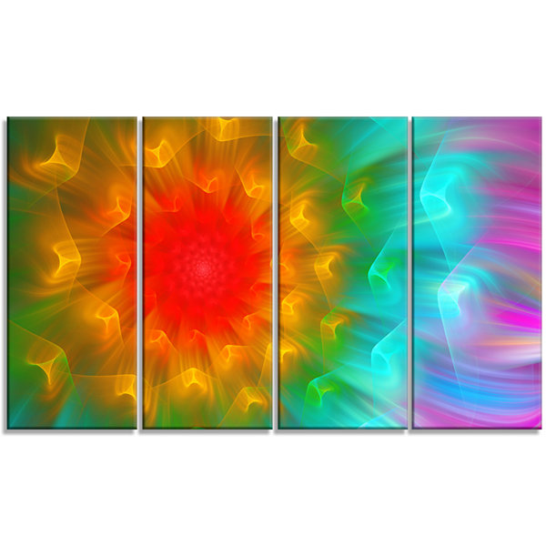 Designart Large Red Alien Fractal Flower Large Floral Canvas Art Print - 4 Panels