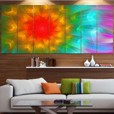 Designart Large Red Alien Fractal Flower Large Floral Art Canvas Print - 5 Panels