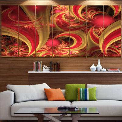 Designart Pink Symmetrical Fractal Pattern LargeFloral Canvas Art Print - 5 Panels