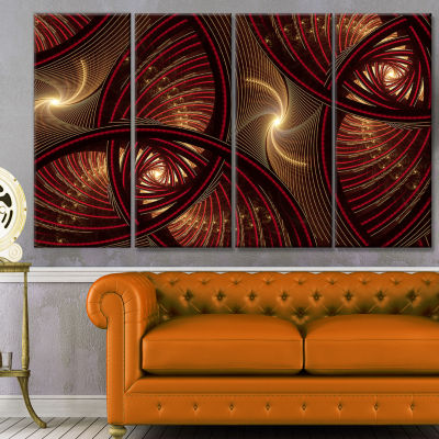 Brown Symmetrical Fractal Pattern Floral Canvas Art Print - 4 Panels