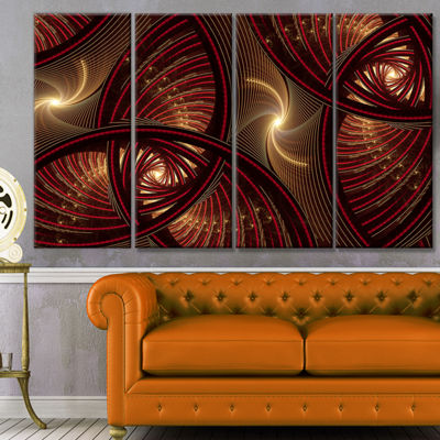 Designart Brown Symmetrical Fractal Pattern FloralCanvas Art Print - 4 Panels