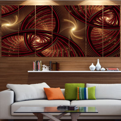 Designart Brown Symmetrical Fractal Pattern LargeFloral Canvas Art Print - 5 Panels
