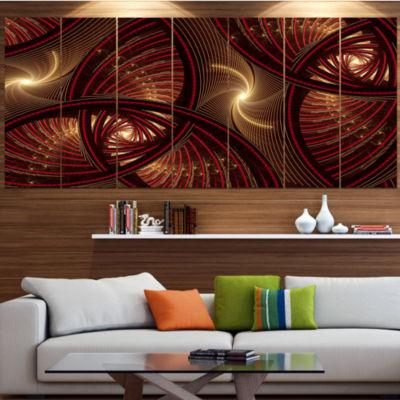 Designart Brown Symmetrical Fractal Pattern FloralCanvas Art Print - 5 Panels