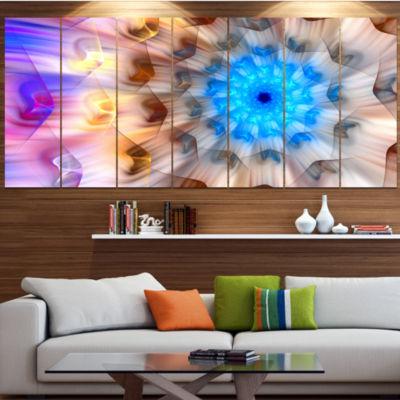 Designart Blue Fractal Petals Dandelion Large Floral Canvas Art Print - 5 Panels