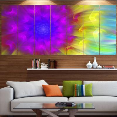 Designart Purple Fractal Petals Dandelion Large Floral Canvas Art Print - 5 Panels