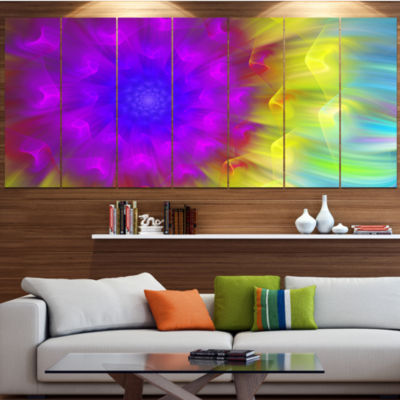 Designart Purple Fractal Petals Dandelion FloralCanvas Art Print - 5 Panels