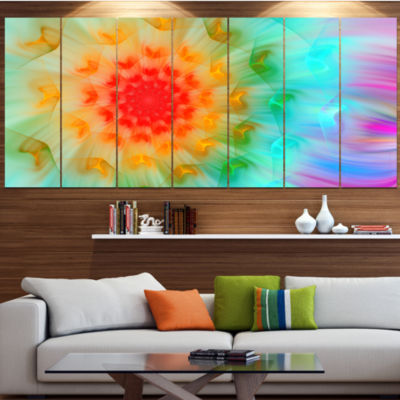 Designart Red Fractal Petals Dandelion Floral Canvas Art Print - 6 Panels