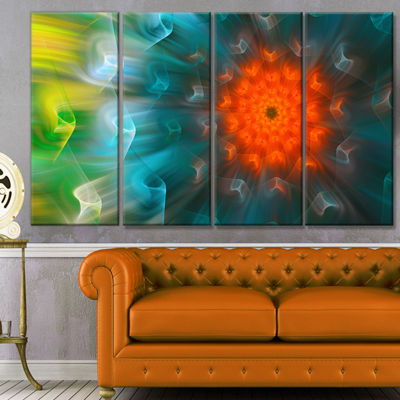 Designart Multi Color Fractal Petals Dandelion Floral Canvas Art Print - 4 Panels