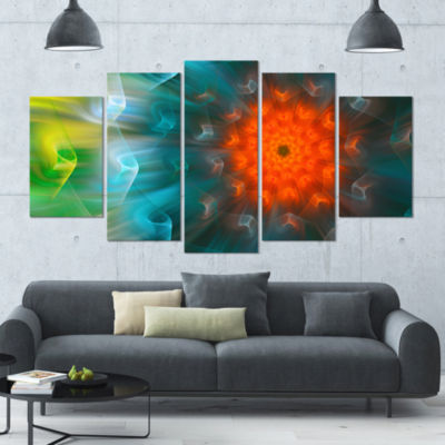 Multi Color Fractal Petals Dandelion Large FloralCanvas Art Print - 5 Panels