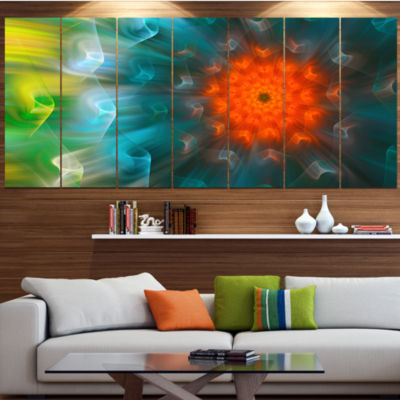 Designart Multi Color Fractal Petals Dandelion Floral Canvas Art Print - 5 Panels