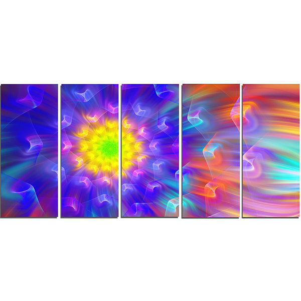 Design Art Bright Blue Fractal Petals Dandelion Floral Canvas Art Print - 5 Panels