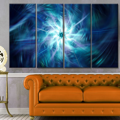 Designart Splaying Bright Blue Fireworks Floral Canvas Art Print - 4 Panels