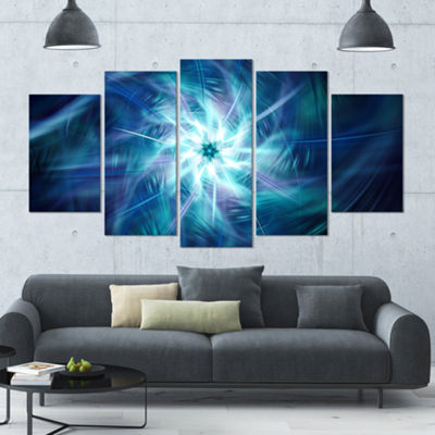 Designart Splaying Bright Blue Fireworks Large Floral Canvas Art Print - 5 Panels