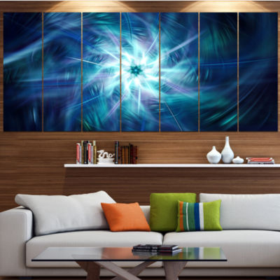 Designart Splaying Bright Blue Fireworks Floral Canvas Art Print - 6 Panels