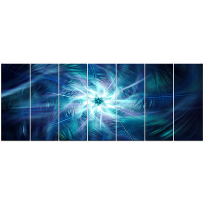 Designart Splaying Bright Blue Fireworks Floral Canvas Art Print - 7 Panels