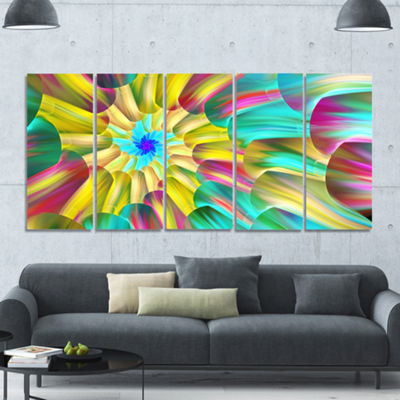 Designart Multi Color Stained Glass Spirals FloralCanvas Art Print - 5 Panels