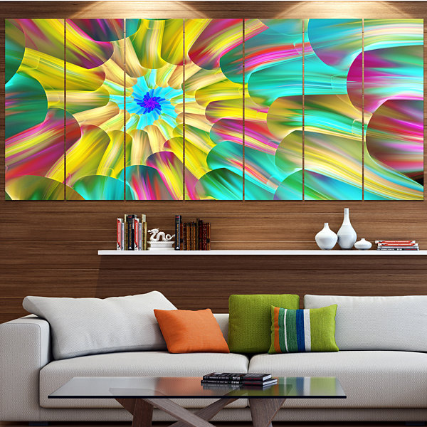 Designart Multi Color Stained Glass Spirals FloralCanvas Art Print - 7 Panels