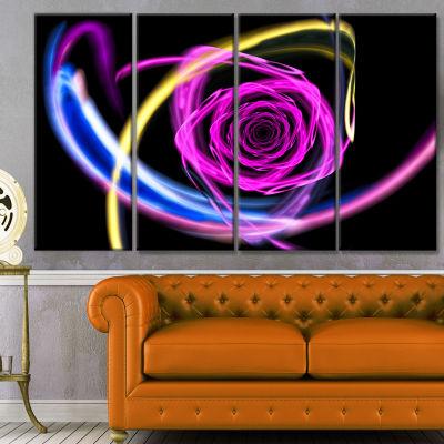 Designart Glowing Purple Neon Rose Floral CanvasArt Print -4 Panels