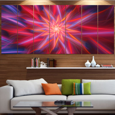 Designart Shining Red Purple Exotic Flower LargeFloral Canvas Art Print - 5 Panels