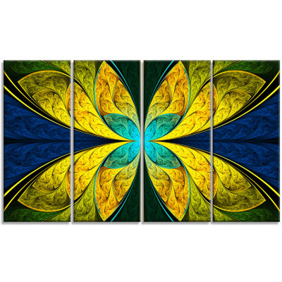 Bright Yellow Blue Fractal Flower Floral Canvas Art Print - 4 Panels