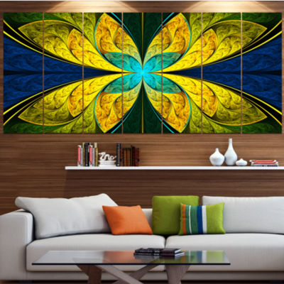 Bright Yellow Blue Fractal Flower Floral Canvas Art Print - 4 Panels