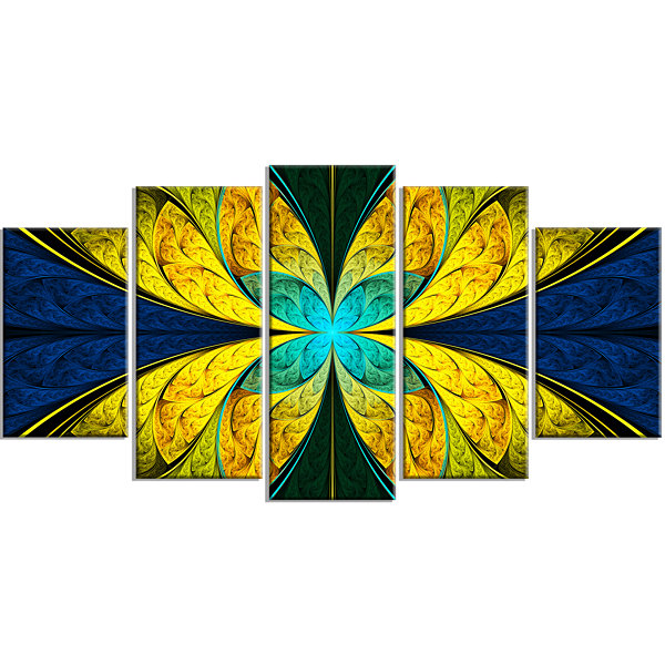 Designart Bright Yellow Blue Fractal Flower LargeFloral Canvas Art Print - 5 Panels