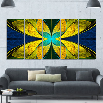 Bright Yellow Blue Fractal Flower Floral Canvas Art Print - 5 Panels