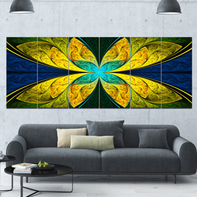 Designart Bright Yellow Blue Fractal Flower FloralCanvas Art Print - 6 Panels