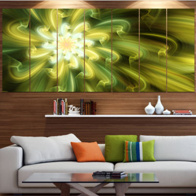 Designart Dance Of Yellow Fractal Petals Floral Canvas Art Print - 4 Panels