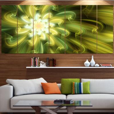 Designart Dance Of Yellow Fractal Petals Floral Canvas Art Print - 6 Panels