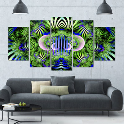 Designart Green Magical Fairy Pattern Large FloralCanvas Art Print - 5 Panels