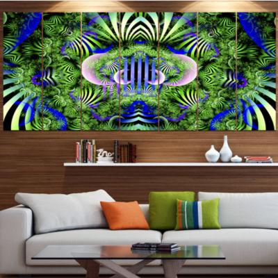 Designart Green Magical Fairy Pattern Floral Canvas Art Print - 5 Panels