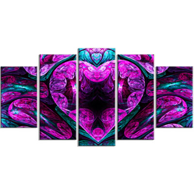 Designart Purple Cold Mystical Heart Large FloralCanvas Art Print - 5 Panels