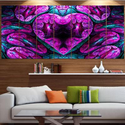 Purple Cold Mystical Heart Floral Canvas Art Print- 6 Panels