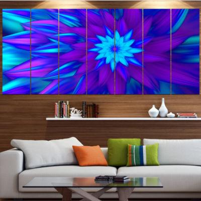 Designart Dance Of Blue Flower Petals Large FloralCanvas Art Print - 5 Panels