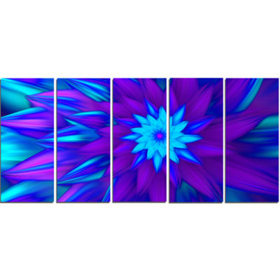 Designart Dance Of Blue Flower Petals Floral Canvas Art Print - 5 Panels