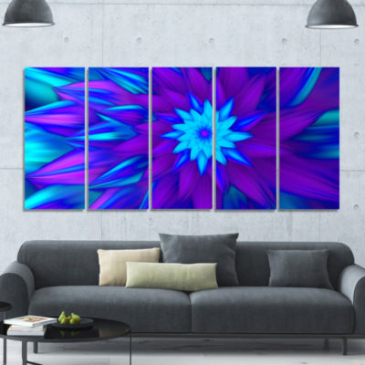 Dance Of Blue Flower Petals Floral Canvas Art Print - 5 Panels