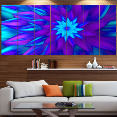 Designart Dance Of Blue Flower Petals Floral Canvas Art Print - 6 Panels