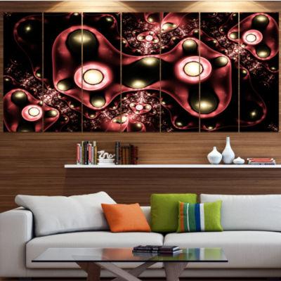 Designart 3D Surreal Brown Illustration Floral Canvas Art Print - 4 Panels