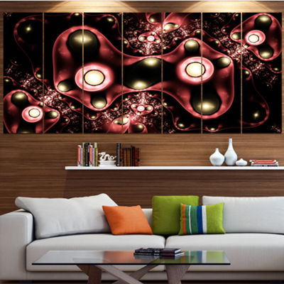 Designart 3D Surreal Brown Illustration Floral Canvas Art Print - 7 Panels
