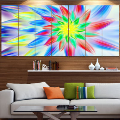 Designart Dance Of Multi Color Petals Large FloralCanvas Art Print - 5 Panels