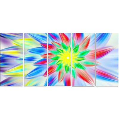 Designart Dance Of Multi Color Petals Floral Canvas Art Print - 5 Panels